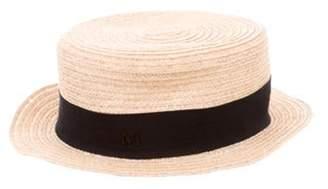 Maison Michel Straw Fedora Hat Tan Straw Fedora Hat