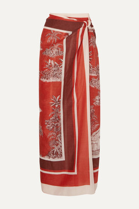 Johanna Ortiz Costa Del Sol Printed Cashmere And Silk-blend Pareo - Red