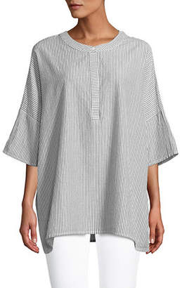 Jones New York Oversize Mandarin Collar Top