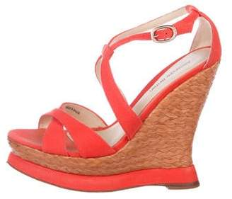 Alexandre Birman Peep-Toe Woven Wedge Sandals