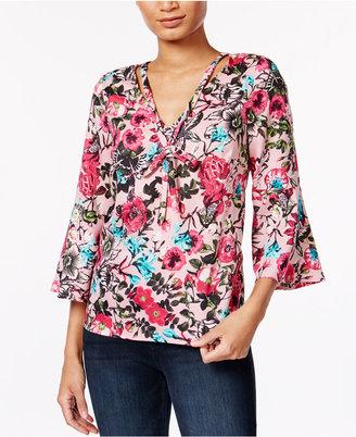 kensie Floral-Print Bell-Sleeve Top $75 thestylecure.com