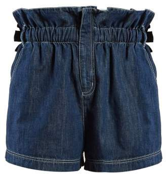 Fendi Paperbag Waist Denim Shorts - Womens - Denim