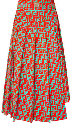 Fendi Asymmetric Pleated Printed Cotton-poplin Skirt - Red