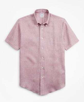 Brooks Brothers Regent Fit Irish Linen Short-Sleeve Sport Shirt