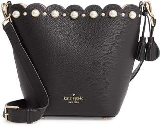 Kate Spade Hayes Street - Vanessa Imitation Pearl Studded Leather Shoulder Bag