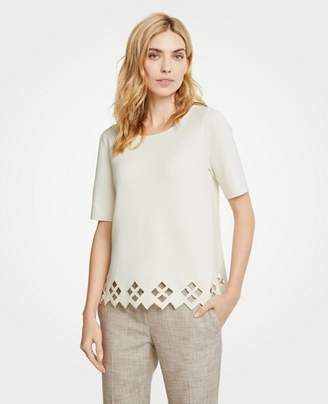 Ann Taylor Petite Lattice Cutout Sweater