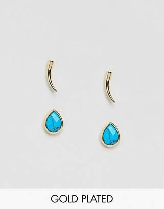 Orelia Gold & Blue Stud Earrings Pack