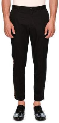 Dolce & Gabbana Leopard-Stripe Chino Tuxedo Pants