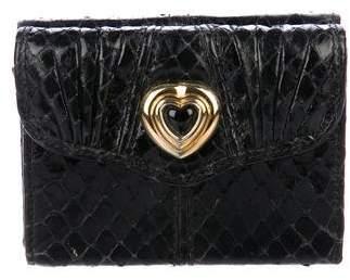 Judith Leiber Snakeskin Mini Compact Wallet