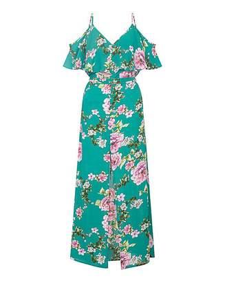 Yumi Curves Cold-Shoulder Maxi Dress