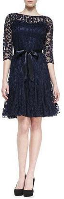 Rickie Freeman for Teri Jon 3/4-Sleeve Lace Overlay Cocktail Dress, Navy $495 thestylecure.com
