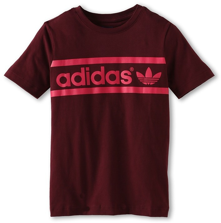adidas Kids - Kids' Heritage Logo Tee (Toddler/Little Kids/Big Kids) (Light Maroon/Blast Pink) - Apparel