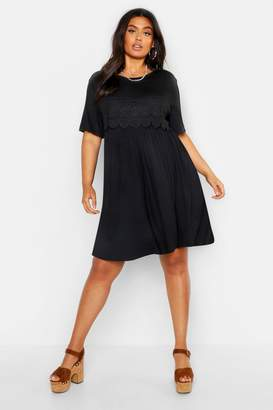 boohoo Plus Crochet Lace Detail Smock Dress