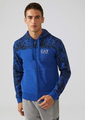 Emporio Armani Ea7 Hooded Sweatshirt With Zip And Camouflage Pattern