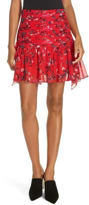 Tanya Taylor Abby Floral Clusters Silk Chiffon Mini Skirt
