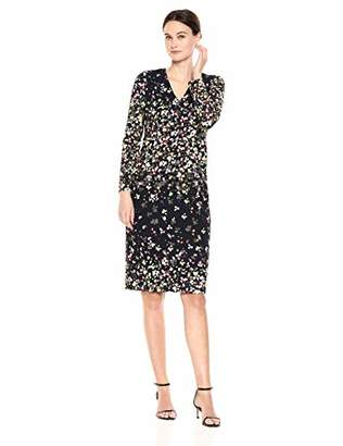 Maggy London Women's Printed Crepe v-Neck midi Dress with Long Sleeve