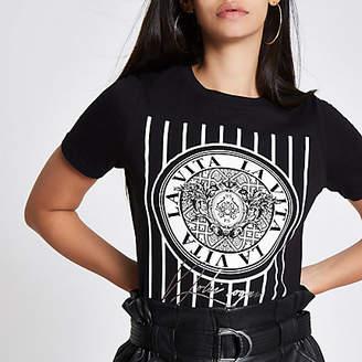 River Island Womens Black 'La Vita' print T-shirt