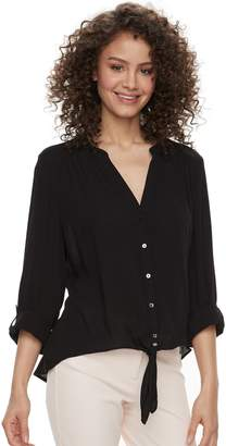 Candies Juniors' Candie's Crepe Button-Front Shirt