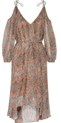 Zimmermann Harlequin Cold-Shoulder Asymmetric Printed Silk-Georgette Dress