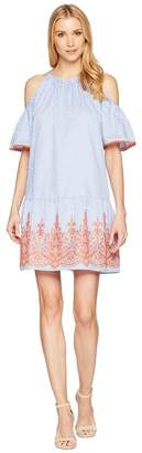 Maggy London Embroidery Stripe Cold Shoulder Shift Dress Women's Dress