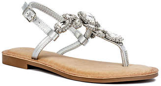 GC SHOES GC Shoes Womens Crystal Slingback Strap Flat Sandals