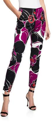 Trina Turk Varvara Lady Day Orchid-Print Skinny Leg Faille Pants