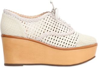 80mm Wooven Faux Leather Lace Up Wedges $277 thestylecure.com