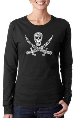 "Los Angeles Pop Art Women's ""PIRATE CAPTAINS, SHIPS AND IMAGERY"" Long Sleeve T-Shirt"