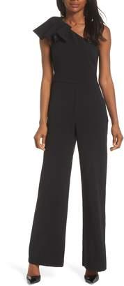 Eliza J One-Shoulder Ruffle Crepe Jumpsuit