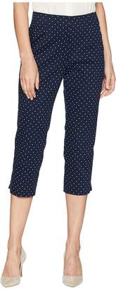 Chaps Polka-Dot Stretch Satin Capri Pant Women's Casual Pants