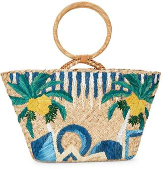 Aranaz Embroidered Straw Top Handle Bag