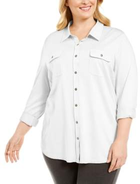 Karen Scott Plus Size Polo-Style Shirt, Created for Macy's