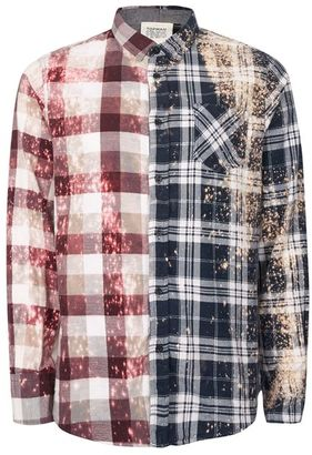 TOPMAN FINDS Bleached Check Spliced Shirt $100 thestylecure.com
