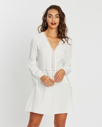 boohoo Crochet Trim Flared Sleeve Skater Dress