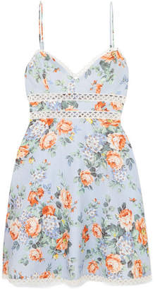 Zimmermann Bowie Crochet-trimmed Floral-print Linen Mini Dress - Sky blue