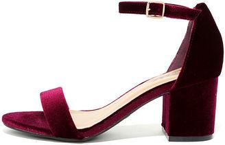 For Real Burgundy Velvet Ankle Strap Heels $29 thestylecure.com