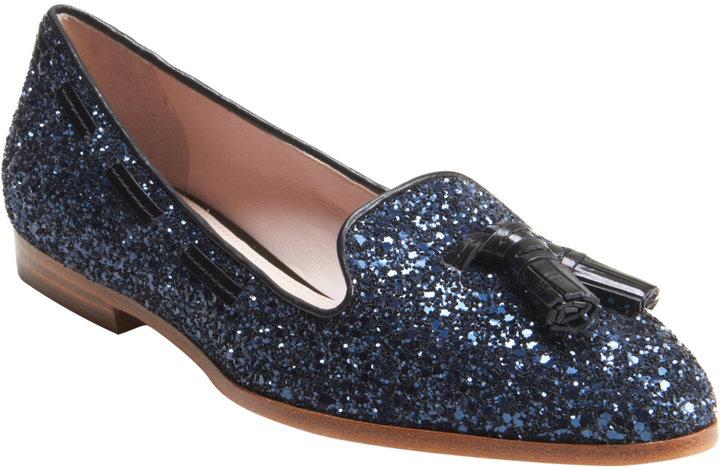 Miu Miu Glitter Tassel Loafer