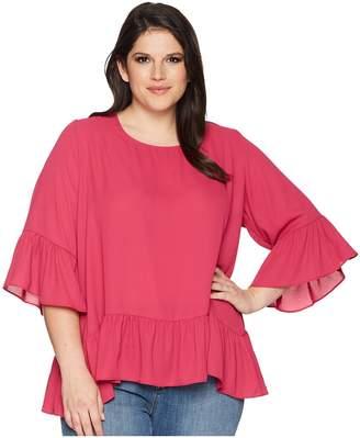 Karen Kane Plus Plus Size Ruffle Hem Top Women's Clothing