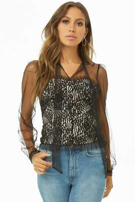 Forever 21 Floral Lace & Mesh Top