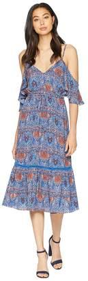 BB Dakota Marrakesh Express Blue Dynasty Printed Crepe de Chine Dress Women's Dress