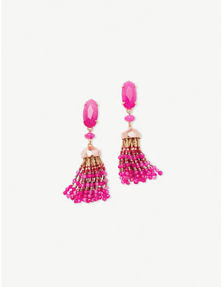 Kendra Scott Dove 14ct gold-plated pink agate tassel earrings