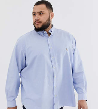 Polo Ralph Lauren Big & Tall player logo button down oxford shirt in blue