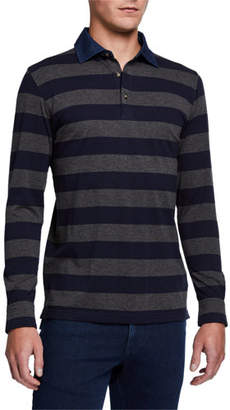 Peter Millar Men's Luxury Rugby Stripe Polo Shirt