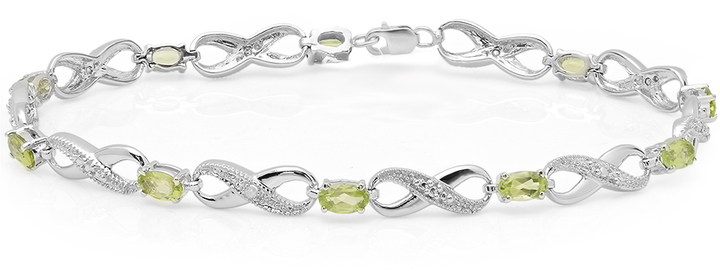 Ice 2 3/8 CT TW Peridot and White Diamond 10K White Gold Infinity Tennis Bracelet