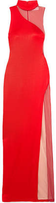Galvan - Shadow Tulle-paneled Stretch-knit Gown - Red