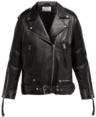 Acne Studios Myrtle Leather Biker Jacket - Womens - Black