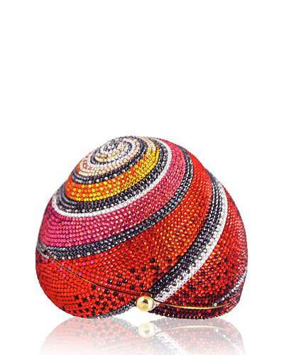 Judith Leiber Couture Polymita Snail Shell Crystal Clutch Bag, Red