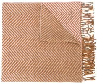 Mulberry herringbone fringed scarf