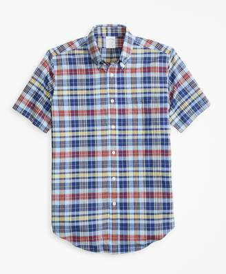 Brooks Brothers Regent Fit Blue and Yellow Madras Short-Sleeve Sport Shirt