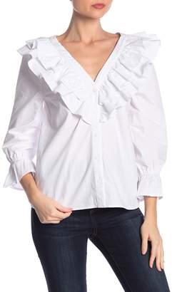 J.o.a. Ruffled V-Neck Button Front Shirt